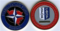 This is truly a hard to get collectable coin from the NATO/SFOR mission in Bosnia.    The coin is 2 inches in diameter.