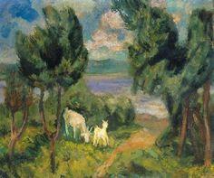 Berény Róbert (1887-1953)  Legelészők  Olaj, vászon, 54,5x66 cm