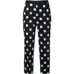 Guild Prime polka dot cropped trousers ($245) ❤ liked on Polyvore featuring pants, capris, black, polka dot trousers, cropped pants, print pants, dotted pants and patterned trousers