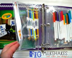 Organizing art supplies into a binder. Great for homework station.