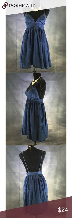 "Denim Casual Dress Great for vacation.  Dark blue.  Measurements: 32"" chest, 36"" length.  100% cotton.  This item is in excellent condition. Dresses Midi"