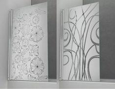 Vinilos Esmerilados Para Mamparas Y Vidrios - $ 400,00 Glass Painting Designs, Paint Designs, My Glass, Glass Art, Frosted Glass Spray, Entry Doors With Glass, Glass Doors, Tub Enclosures, Sandblasted Glass