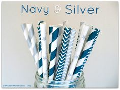 NEW!! Navy and Silver Mixed Paper Straws by ModernMandyShop, $4.00 #wedding #navyandsilver