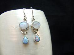Moonstone & Opal Sterling Silver Earrings by ParadiseJewellery on Etsy