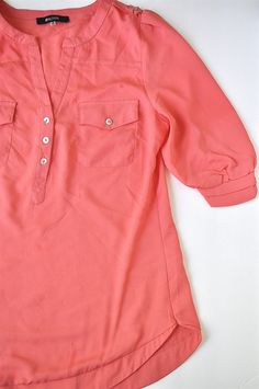 41Hawthorn 3/4 sleeve popover blouse in coral - like the details on the sleeve and the curved hemline, plus this would go with a lot of bottoms in my closet
