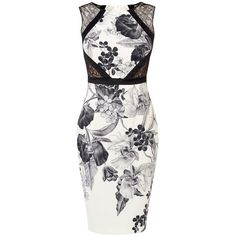 Karen Millen Floral-Print Pencil Dress, Black/White (€230) ❤ liked on Polyvore featuring dresses, lace mini dress, floral maxi dress, lace sleeve dress, black and white lace dress and lace midi dress