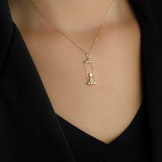 Pingente em Ouro 18k Menina no Balanço com Diamantes pi17633 - Joiasgold be994ce9c9