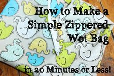 Tutorial on how to make a simple zippered wet bag in 20 minutes or less from Thinking About Cloth Diapers. Also lists places to buy PUL! Baby Sewing Projects, Sewing For Kids, Sewing Crafts, Fabric Crafts, Wet Bag Tutorials, Sewing Tutorials, Sewing Patterns, Baby Patterns, Cloth Nappies