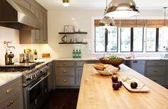 A bright and light wood kitchen island