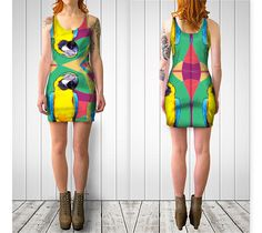 Wildflower Parrot bodycon dress by Bunhugger Design #parrot #birds #tropical #jungle #animals #summer