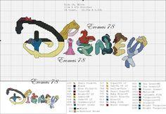 Free Disney character logo cross stitch pattern #stitching