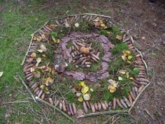 outdoor mandala made from found natural objects