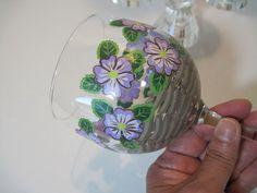Floral Basket Wine Glasses