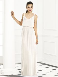 After Six Bridesmaids Style 6666:  Full length lux chiffon dress w/ blouson bodice and cowl neck. Slightly shirred skirt.