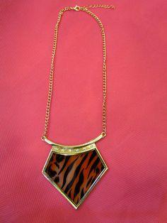 Zebra w/Gold Chain $10 #fashionjewelry #accessories #necklaces #womensfashion #trendyfashion