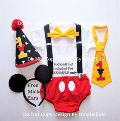 Mickey Mouse cumpleaños traje torta traje smash ligas de que