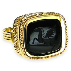 Carved Onyx Pegasus Intaglio Ring