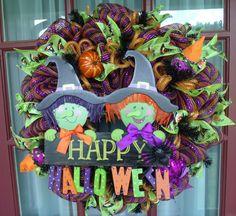 Happy Halloween Orange Black and Lime Green Deco Mesh Wreath #DecoMesh
