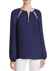 Chelsea And Walker Cutout Silk Blouse | Bloomingdale's