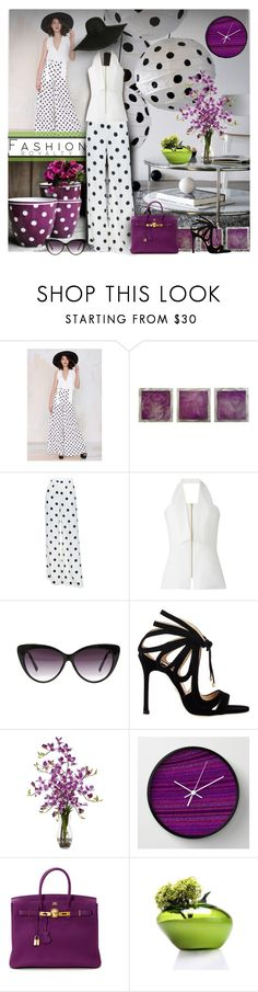 """Dots"" by sheryl-lee ❤ liked on Polyvore featuring Nicolette, Universal Lighting and Decor, Ralph Lauren Collection, Amanda Wakeley, Eloquii, Chelsea Paris, Nearly Natural, WALL and Hermès"