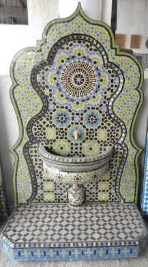 Art Naji fountain ~ Fez, Morocco. Moroccan tile mosaic is mesmerizing!