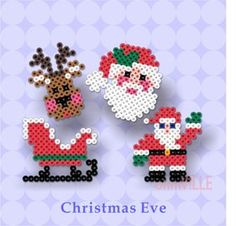 Perler Beads ~ Hama Beads, Fuse Beads ~ Create Just About… Christmas designs, birds, pac man ghost, etc. Hama Beads Design, Diy Perler Beads, Hama Beads Patterns, Perler Bead Art, Beading Patterns, Christmas Perler Beads, Motifs Perler, Peler Beads, Christmas Crafts