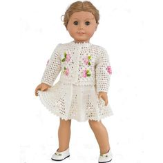 Crochet pattern for festive spring cardigan and skirt  for 18 inch dolls. The pattern is fully charted and has only minimal written instructions essential for f