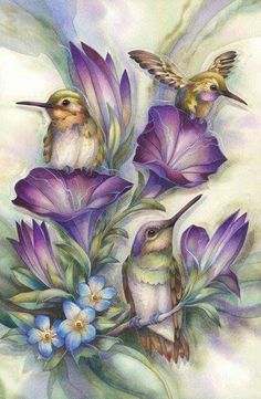 Sweet Little Hummingbirds with Purple Flowers Diamond Painting Kit. by OurCraftAddictions China Painting, Silk Painting, Painting & Drawing, Watercolor Paintings, Original Paintings, Colorful Paintings, Painting Flowers, Friendship Art, Art Carte