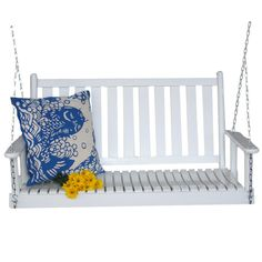 This White Ash Wood Slatted Back Porch Swing - Made in USA would be a great addition to your home. It has interlocking swelled wood joints & is made in the USA. Wicker Porch Swing, Porch Swings, Garden Swings, Young House Love, Primitive Homes, Primitive Crafts, House With Porch, Wood Slats, Outdoor Furniture