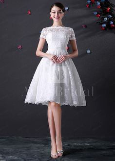 164.00  Knee Length Full Lace Wedding Dress With Short Sleeves -  adasbridal.com a0d83911d4222