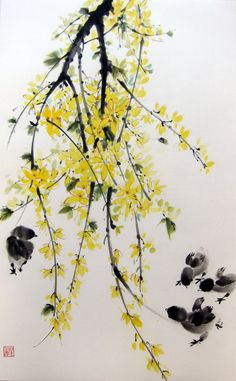Japanese Ink Painting, Large,Suibokuga,Sumi-e, Flower and Birds painting, Rice paper, Yellow Black, Forsythia chicks #1 by Suibokuga on Etsy