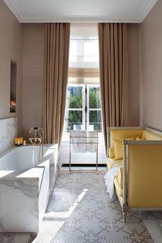 Contemporary Master Bathroom with complex marble tile floors, Master bathroom, J Covington Swedish Setee, Crown molding
