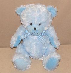 "Kid Parade Blue Teddy Bear Plush Stuffed Animal 12"" Toy Gingham Boy 2000 Street #StreetPlayersHoldings"