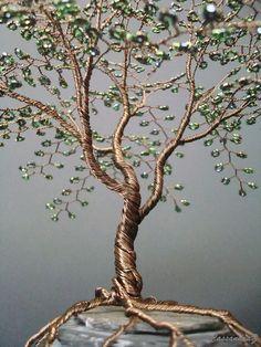 Bonsai de cuentas tradicional alambre árbol escultura verde