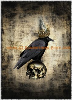 Royal Halloween Crow on Skull with Crown of Stars by CLBcreations, $2.00