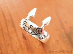 Totoro ring band by 925gioielli on Etsy