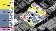 OMA wins The Plaza at Santa Monica Competition Falling Water Architecture, Oma Architecture, Architecture Drawings, Architecture Portfolio, Concept Architecture, Architecture Visualization, Japanese Architecture, Mix Use Building, Building Concept