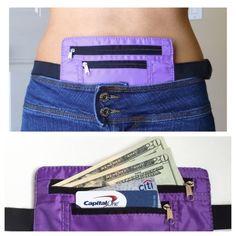 Secret Waist Wallet Pocket belt keeps valuables hidden Travel Passport - Purple