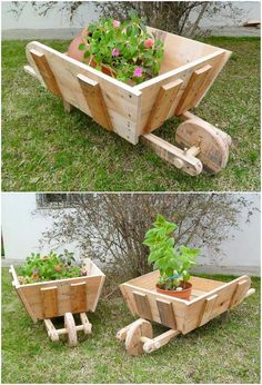To make your garden look ideally impressive and amazing in appearance, it would be rather a best option to make it add with creative shaped barrow planter designs of wood pallet. You can add the barrow pieces with the colorful use of flowers on high terms. See the image! How it looks?