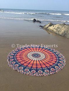 Handicrunch Indian Round Mandala Tapestry, Hippie Picnic Throw, Roundie Beach Blanket, Boho Gypsy Dorm Decor, Bohemian Yoga Mat, Cotton Table Cloth