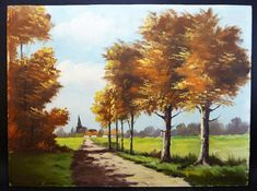 Wooden panel oil painting, marked by the painter, Hanotiaux. Gorgeous autumnal light, country landscape, path of trees, gravel road, far off village and church bell tower. ...