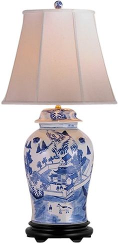 With blue asian style lamps final