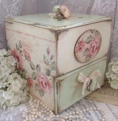 Lovely Hand Painted Wooden Box with Drawer ~
