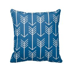 Cobalt Blue and White Arrows Zippered Throw Pillow Cover by Primal Vogue™ - Various Sizes 14x14 16x16 18x18 20x20 - Native Southwestern