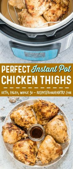 If you're looking for the BEST and EASIEST Instant Pot chicken thighs recipe, you've found it! This Instant Pot recipe produces flavourful, moist, and delicious chicken thighs in no time at all. Start with fresh or frozen chicken thighs! #instantpot #instantpotrecipes #instantpotchickenthighs #pressurecookerchickenthighs #pressurecooker via @recipespantry
