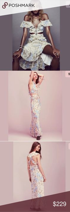 For love & Lemons Cadence Floral Ruffle Maxi Dress MSRP $250. This dress is BRAND NEW W/ TAGS STILL ATTACHED. I purchased it directly form the FLL website, so it isguaranteed100%authentic. Size Large bust 37in  waist 31in hips 48in length 58 in Description: Beautifully femme floral-printed maxi dress featuring cutout detail at the waist and strappy back accent. Ruffle overlay along the bust, waist and hem makes for an ethereal, floaty silhouette. Hidden back zip and elastic detail at…