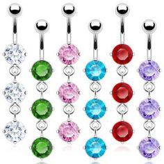 Three Round Crystal Dangle Navel Ring
