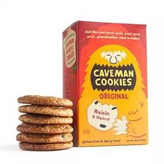 Why are these great tasting #glutenfree cookies so hard to find if you are #glutenfreeindublin / #glutenfreeinireland  We don't know, but we are working on it!  Original Caveman Cookies are a Paleolithic take on the traditional oatmeal-raisin cookie.  Sweet, but satisfying with a nut flour base, these cookies are great for cavemen in need of a quick pick-me-up.  Ingredients: organic honey, almond flour, walnuts, raisins, ginger, nutmeg, cinnamon