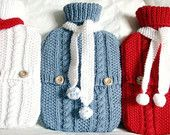 Frosty blue winter warmer hot  water bottle sweater with cute white pom pom scarf - by A Crooked Sixpence