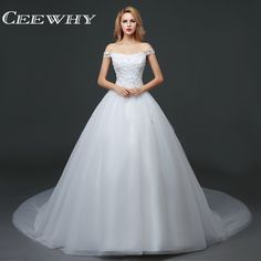 2c9dcfcfd383 CEEWHY Off the Shoulder Appliques Lace Up Backless Vestidos de Novia 2017 Wedding  Dresses Pearls Court Train White Ball Gown-in Wedding Dresses from ...